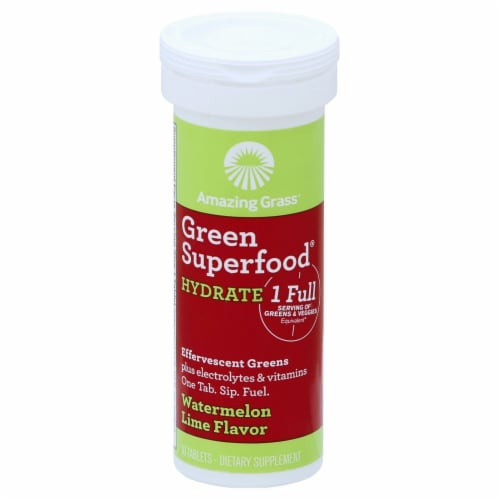 Amazing Grass Green Superfood Hydrate Watermelon Lime Effervescent Greens Tablets Perspective: front