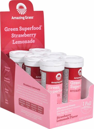 Amazing Grass Green Superfood Hydrate Strawberry Lemonade Effervescent Greens Perspective: front