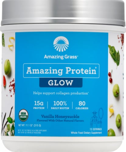 Amazing Grass Amazing Protein Glow Vanilla Honeysuckle Whole Food Dietary Supplement Powder Perspective: front