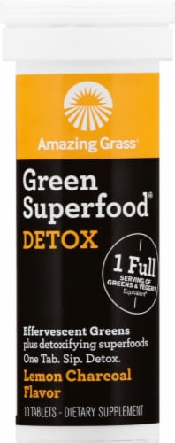 Amazing Grass Green Superfood Detox Lemon Charcoal Effervescent Greens Tablets Perspective: front