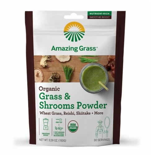 Amazing Grass Organic Grass & Shrooms Powder Perspective: front