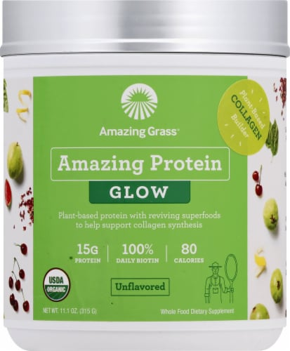 Amazing Grass Amazing Protein Glow Unflavored Powder Perspective: front
