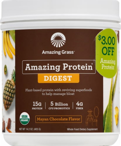 Amazing Grass Amazing Protein Digest Mayan Chocolate Dietary Supplement Powder Perspective: front