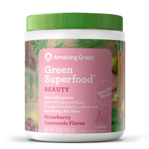 Amazing Grass Beauty Strawberry Lemonade Green Superfood Dietary Supplement Powder Perspective: front