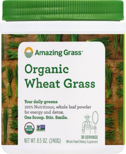 Amazing Grass Organic Wheat Grass Whole Food Dietary Supplement Powder Perspective: front
