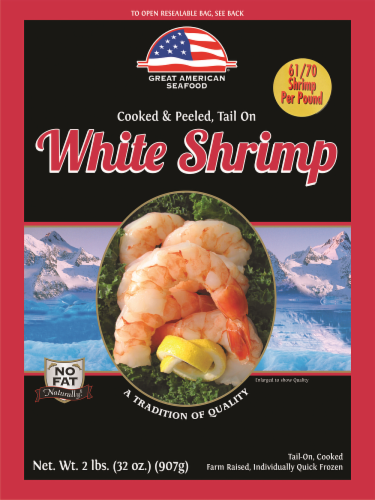 Great American Cooked & Peeled Tail-on White Shrimp Perspective: front