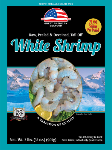 Great American Seafood Raw Peeled & Deveined Tail Off White Shrimp Perspective: front