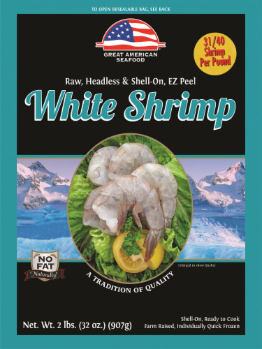 Great American Seafood Raw EZ Peel White Shrimp 31/40 per Pound Perspective: front