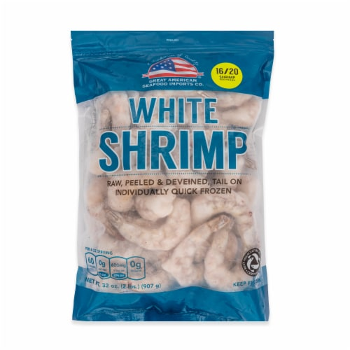 Great American Seafood 16/20 Raw Peeled Tail On White Shrimp (Approximate Delivery is 3-6 Days) Perspective: front