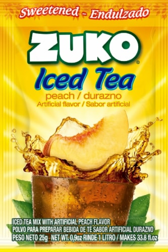 Zuko Peach Iced Tea Drink Mix Packet Perspective: front