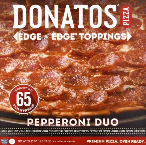 Donatos Pepperoni Duo Pizza Perspective: front