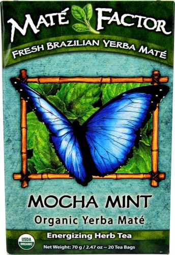 The Mate Factor Organic Yerba Mate Mocha Mint Energizing Herb Tea Bags Perspective: front