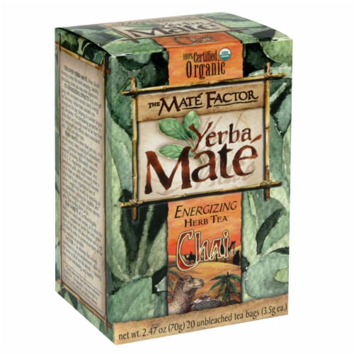The Mate Factor Chai Yerba Mate Energizing Herb Tea Bags Perspective: front