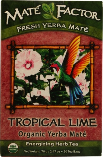 The Mate Factor  Organic Yerba Mate   Hibiscusl Lime Perspective: front