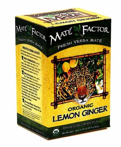 The Mate Factor Organic Yerba Mate Lemon Ginger Energizing Herb Tea Bags Perspective: front