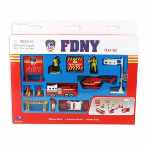 Daron Worldwide Trading RT8760 FDNY 14 Piece Playset Perspective: front