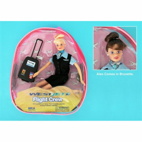 Daron Worldwide Trading  DA1176 Westjet Flight Attendant Doll with Luggage Perspective: front
