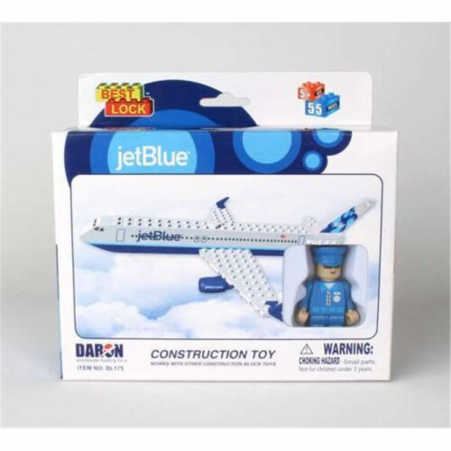Daron Worldwide Trading  BL175 Jet Blue 55 Piece Construction Toy Perspective: front