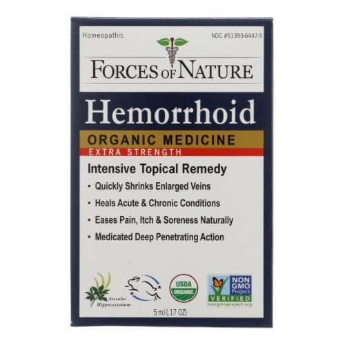 Forces Of Nature Hemorrhoid Control Extra Strength Certified Organic Medicine -1 Each -5ML Perspective: front