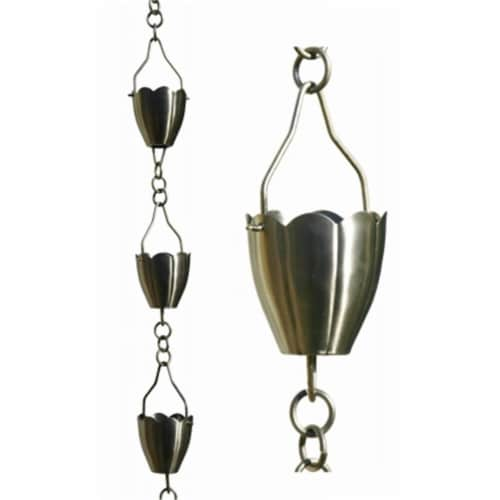 Patina Products 8.5ft. Brushed Stainless Steel Flower Cup Rain Chain  R267 Perspective: front