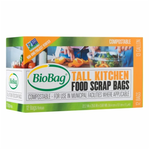 Biobag Compostable Tall Kitchen Food Scrap Bags Perspective: front