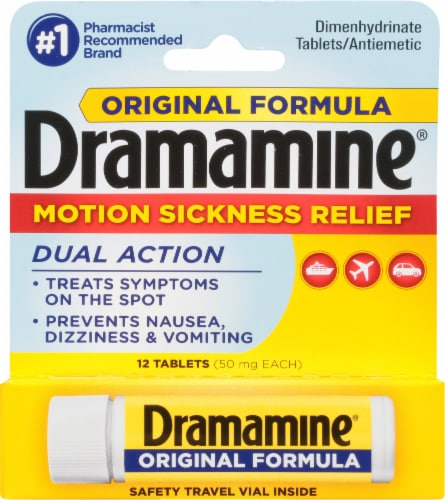 Dramamine Motion Sickness Relief Dual Action Tablets Perspective: front