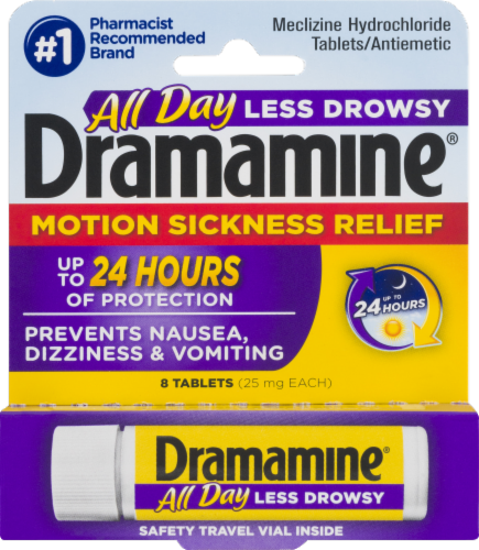 Dramamine Less Drowsy Formula Motion Sickness Relief Tablets Perspective: front