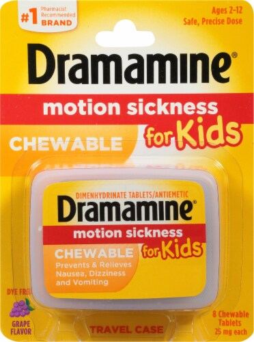 Dramamine Motion Sickness Relief for Kids Grape Flavor Chewable Tablets 8 Count Perspective: front