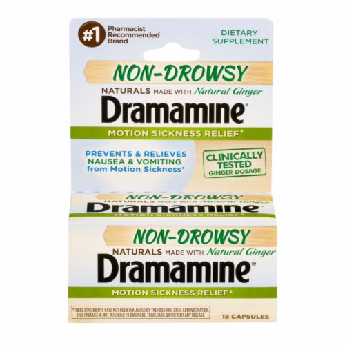 Dramamine Non-Drowsy Natural Ginger Motion Sickness Relief Capsules Perspective: front