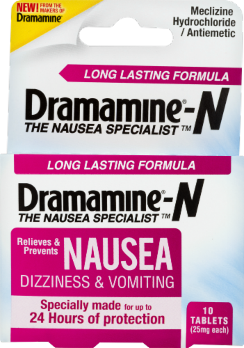 Dramamine Long Lasting Nausea Relief Tablets Perspective: front