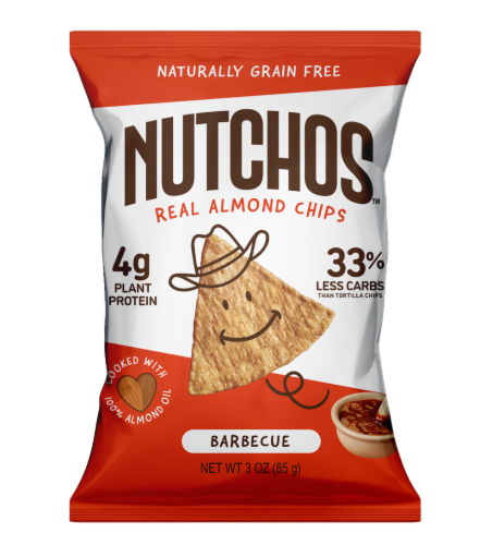 Nutchos Barbeque Real Almond Chips Perspective: front