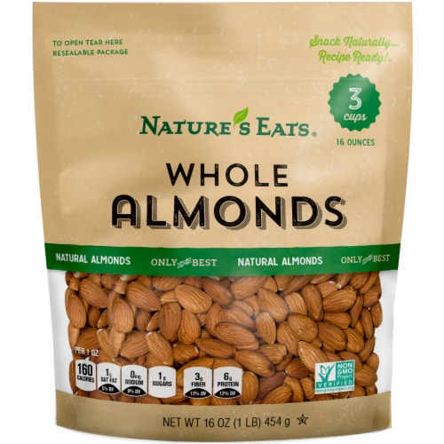 Nature's Eats Whole Almonds Perspective: front