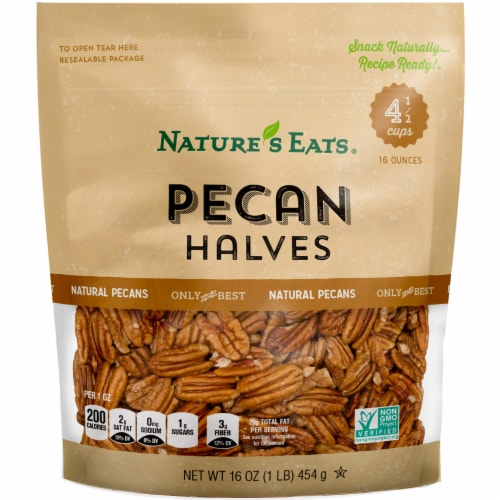 Nature's Eats Pecan Halves Perspective: front