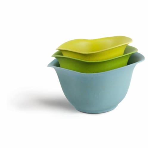 Ecosmart Purlast 2, 3, & 4 qt. Bamboo & Plastic Mixing Bowl Set Perspective: front