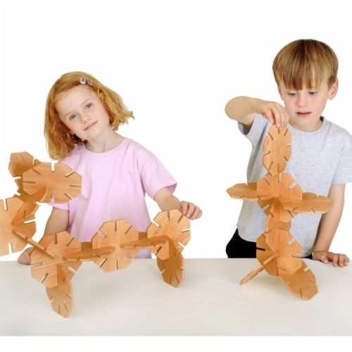 Polydron 1559055 Natural Wooden Octoplay, Set of 20 Perspective: front