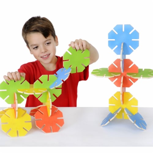 Polydron 1559056 Wooden Octoplay Bright Colors, Set of 20 Perspective: front