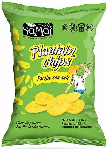 Samai  Plantain Chips   Pacific Sea Salt Perspective: front