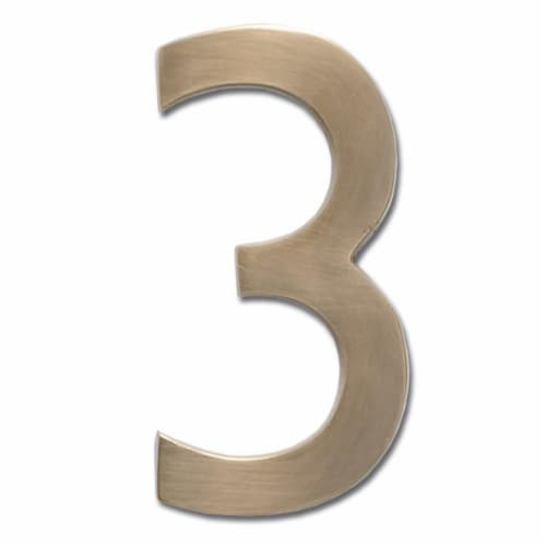 Architectural Mailboxes 3582AB Number 3 Solid Cast Brass 4 inch Floating House Number Antique Perspective: front