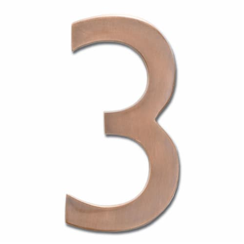 Architectural Mailboxes 3582AC Number 3 Solid Cast Brass 4 inch Floating House Number Antique Perspective: front