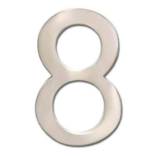 Architectural Mailboxes 3585SN-8 Solid Cast Brass 5 in. Satin Nickel Floating House Number 8 Perspective: front
