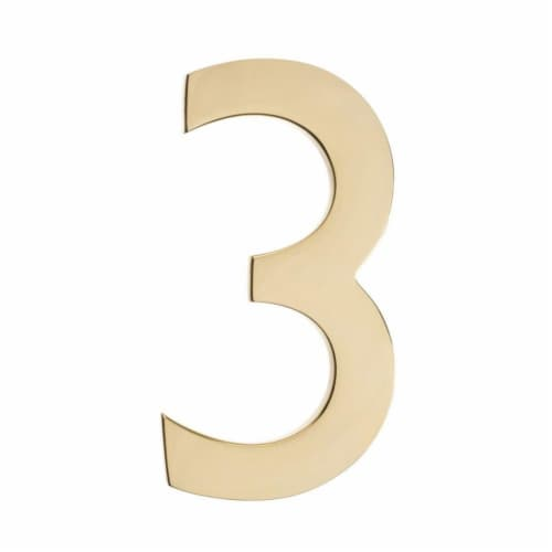 Architectural Mailboxes 3582PB-3 Floating House Number 3, Polished Brass - 4 in. Perspective: front