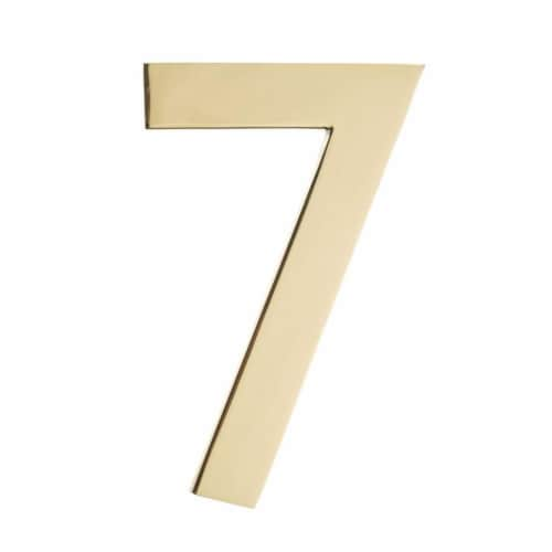 Architectural Mailboxes 3582PB-7 Floating House Number 7, Polished Brass - 4 in. Perspective: front