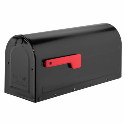 Architectural Mailboxes 7600B-10 MB1 Post Mount Mailbox Black with Red Flag Perspective: front