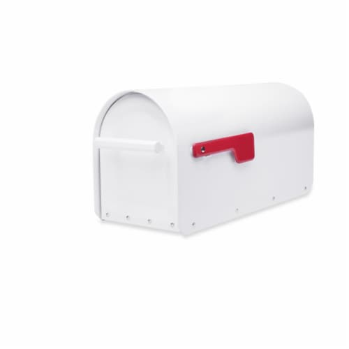 Architectural Mailboxes Sequoia Modern Galvanized Steel Post Mount White Mailbox - Case Of: Perspective: front