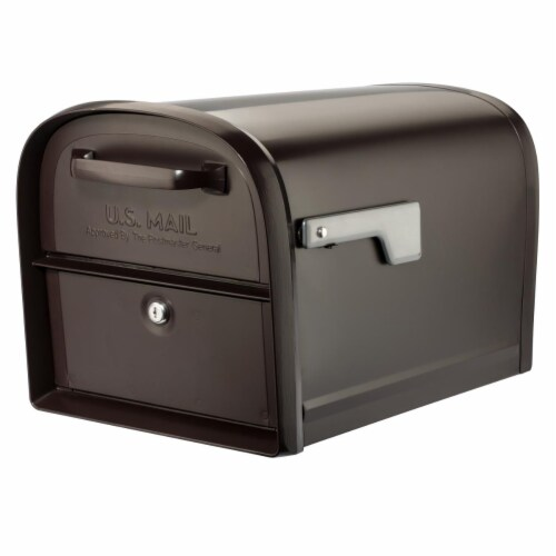 Architectural Mailboxes 6300RZ 360 deg Oasis Post Mount Locking Mailbox - Rubbed Bronze - Lar Perspective: front