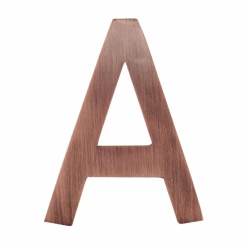 Architectural Mailboxes 3582AC-A 4 in. Brass Floating House Letter A, Antique Copper Perspective: front
