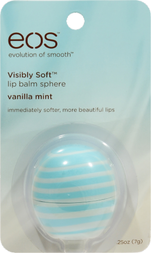 EOS Visibly Soft Vanilla Mint Lip Balm Sphere Perspective: front
