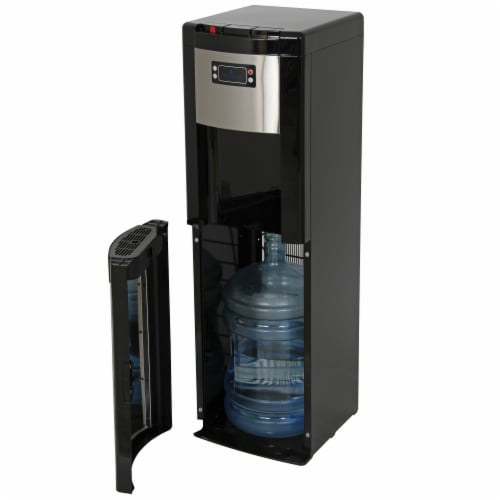 Vitapur Bottom Load Hot Room and Cold Water Dispenser - Black/Stainless Steel Perspective: front