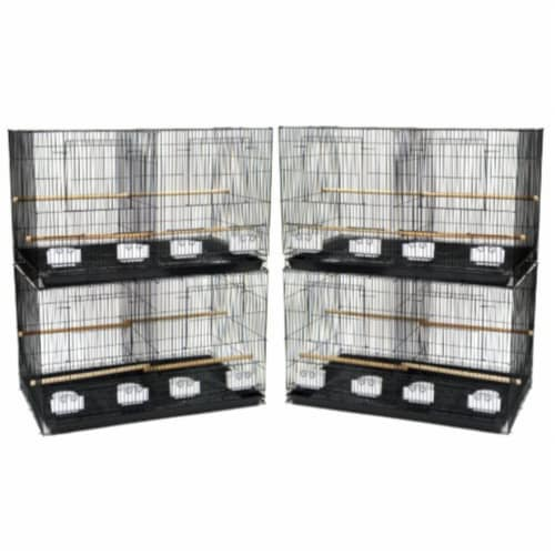 Lot of 4 Medium Breeding Cages with Divider, Black Perspective: front