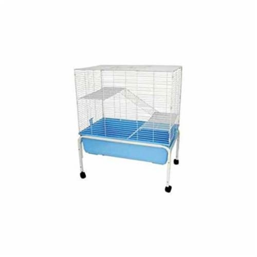 3 Levels Indoor Animal Cage Cat Ferret With Stand In Blue Perspective: front